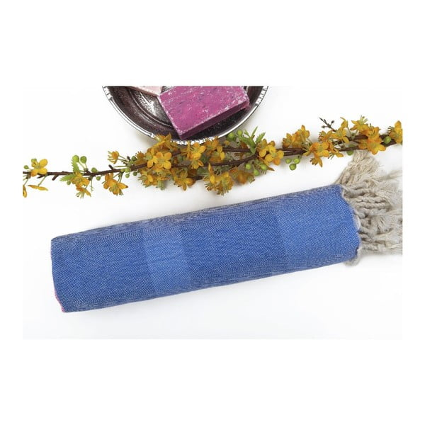 Hammam osuška s modrými pruhy Begonville Myra no.6, 95x175cm