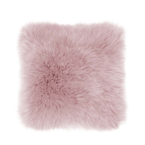 Růžový polštář Tiseco Home Studio Sheepskin, 45 x 45 cm