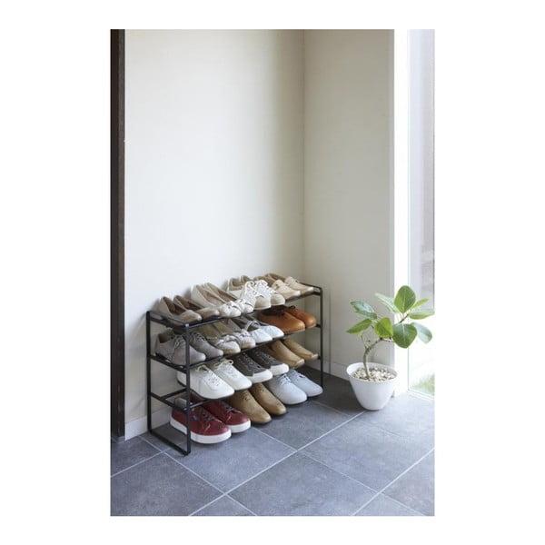 Czarny regulowany 3-poziomowy regał na buty YAMAZAKI Maebashi
