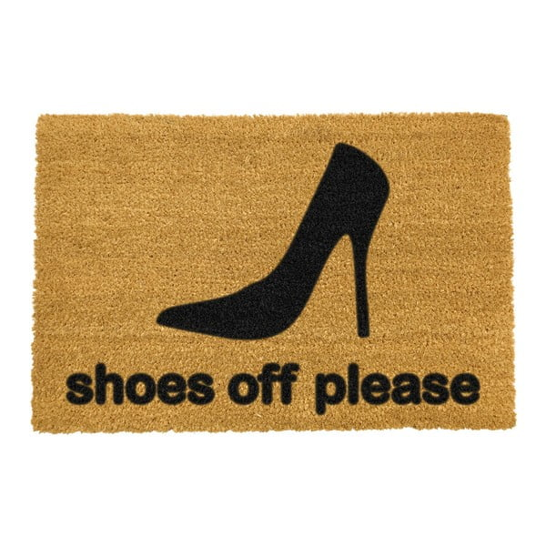 Covoraș intrare din fibre de cocos Artsy Doormats Shoes Off Please, 40 x 60 cm