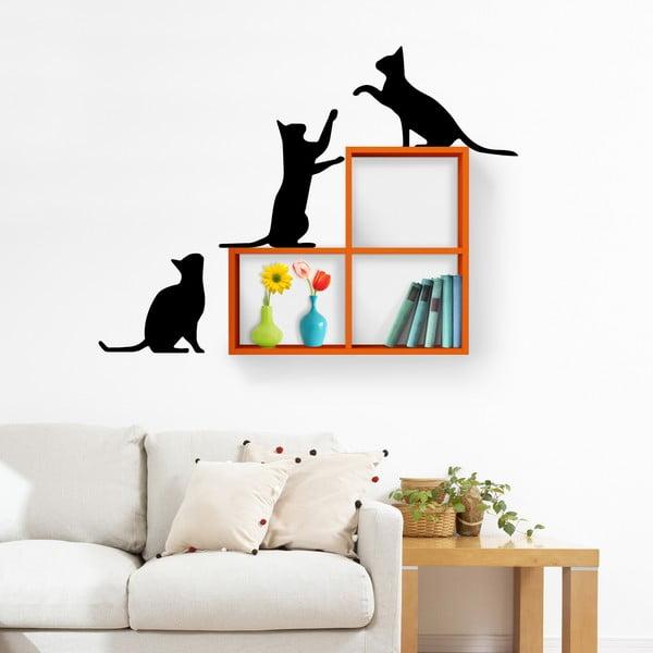 Nástěnná police se samolepkou Cats, oranžová