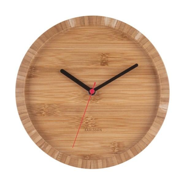 Brązowy zegar ścienny z bambusu Karlsson Tom, ⌀26 cm