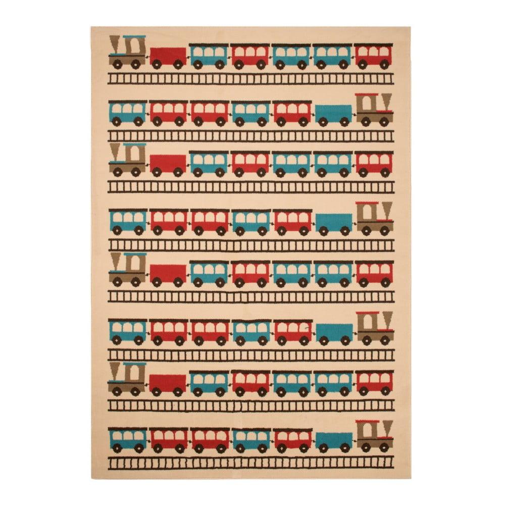 Dětský hnědý koberec Zala Living Train, 140 x 200 cm
