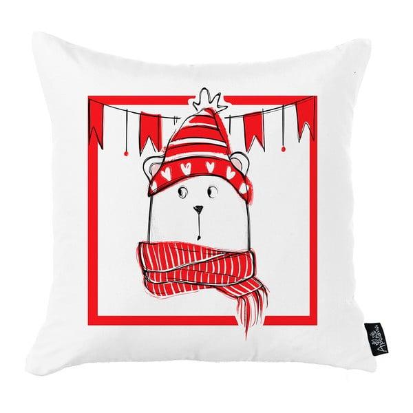 Bielo-červená vianočná obliečka na vankúš Apolena Honey Christmas Bear, 45 x 45 cm