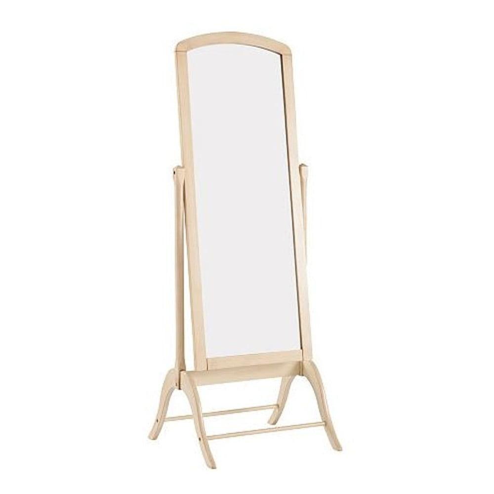 Krémové stojací zrcadlo s rámem z kaučukového dřeva Støraa Charles, výška 180 cm