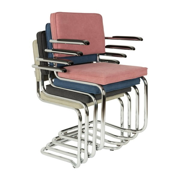 Set 2 scaune cu cotiere Zuiver Ridge Kink Rib, gri antracit