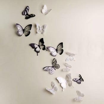 Set autocolante 3D Ambiance Butterflies Chic Black 18 buc.