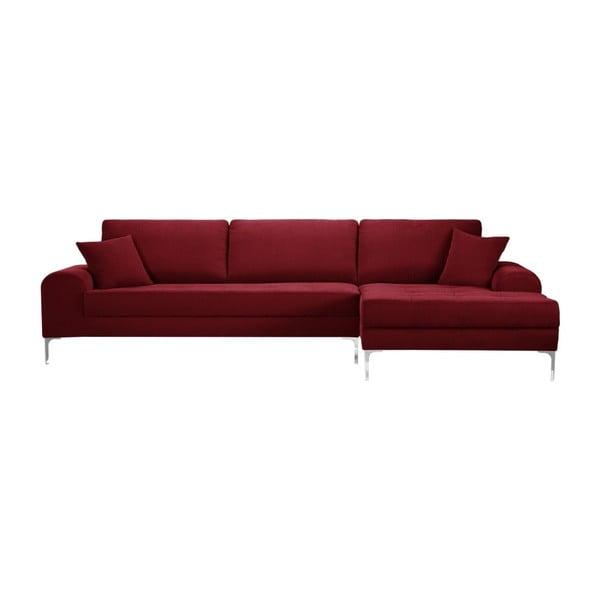 Set canapea roșie cu șezlong pe partea dreaptă, 4 scaune taupe și saltea 160 x 200 cm Home Essentials