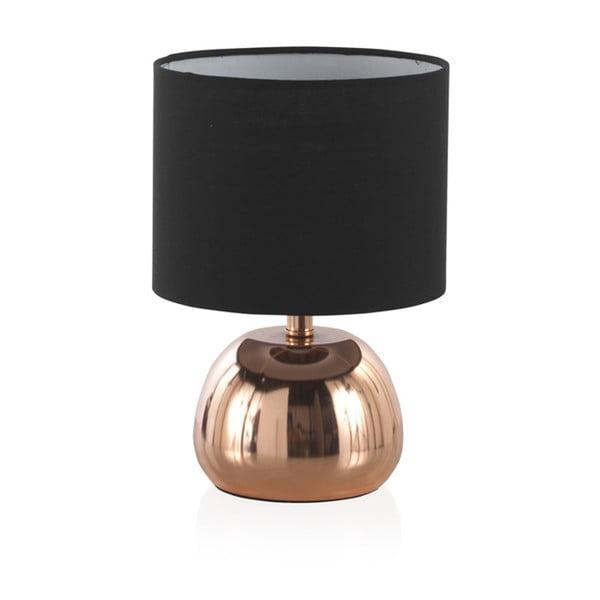 Fekete asztali lámpa sárgaréz színű fém talapzattal, magasság 26 cm - Geese