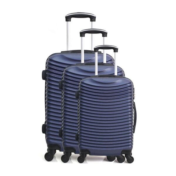 Sada 3 tmavě modrých cestovních kufrů na kolečkách Hero Jasmine