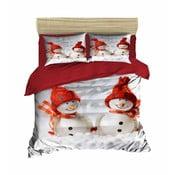 Lenjerie de pat cu cearșaf Christmas Snowmen, 200 x 220 cm