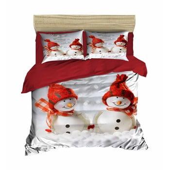 Lenjerie de pat cu cearșaf Christmas Snowmen, 200 x 220 cm de la Pearl Home