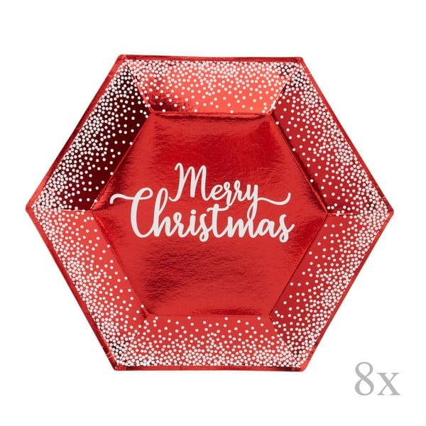 Set 8 farfurii din hârtie pentru Crăciun Nevity Merry Christmas Red & White Dots, ⌀ 27 cm, roșu