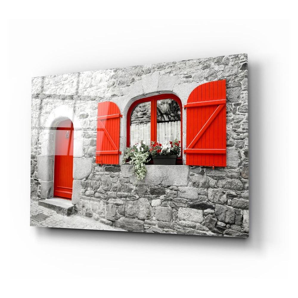 Skleněný obraz Insigne Red Door and Window