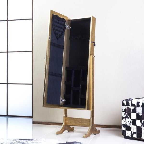 Uzamykatelné stojací zrcadlo se šperkovnicí Angelita, zlaté