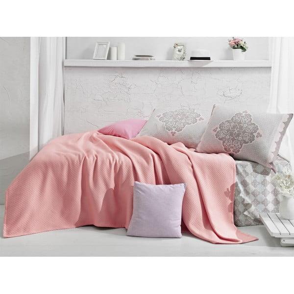 Přehoz s prostěradlem Lovely Pink, 160x235 cm