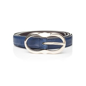 Tmavě modrý kožený dámský pásek Ferruccio Laconi Leto, délka 95 cm