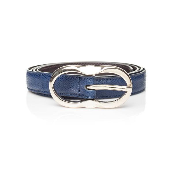 Tmavě modrý kožený dámský pásek Ferruccio Laconi Leto, délka 85 cm