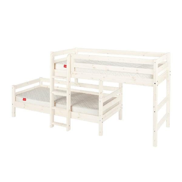 Białe dziecięce łóżko piętrowe z drewna sosnowego Flexa Classic