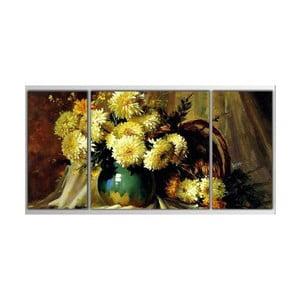 3dílný obraz Asymetric Flowers, 80x40 cm