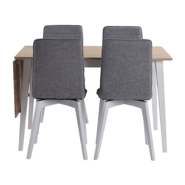Matně lakovaný sklápěcí dubový jídelní stůl s bílými nohami Folke Mimi, délka 120-165cm