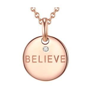 Stříbrný pozlacený náhrdelník s pravým diamantem Tess Diamonds Believe, délka 70 cm