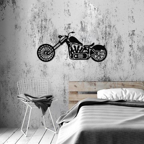 Černá kovová nástěnná dekorace Harley Davidson, 74 x 34 cm