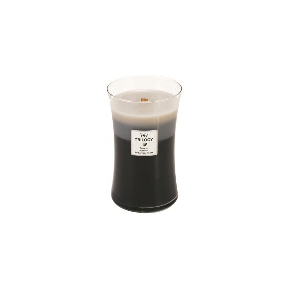 Vonná svíčka WoodWick Trilogy Hřejivé dřevo, 609 g, 130 hodin