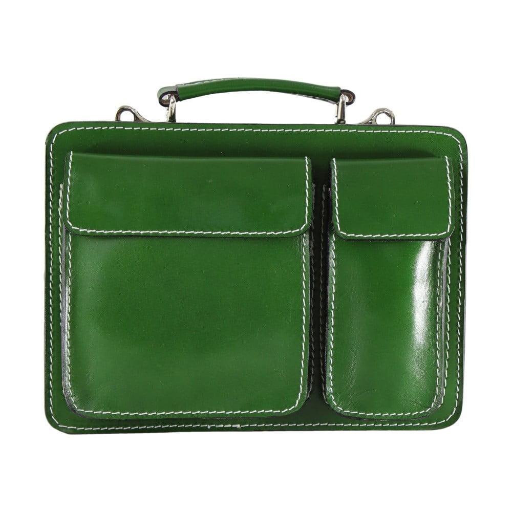 Zelená kožená taška Chicca Borse Budy