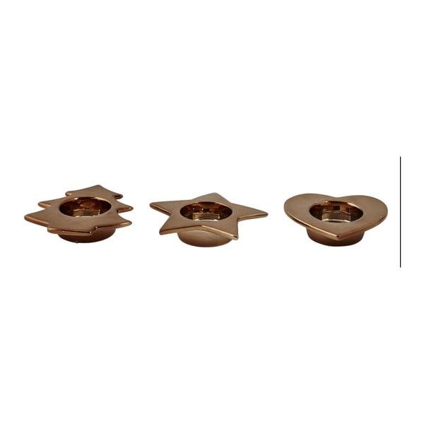 Sada 3 svícnů KJ Collection Tealight Bronze
