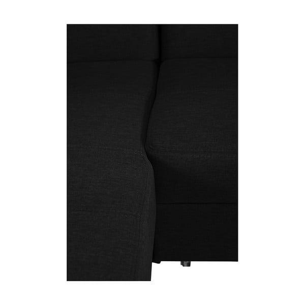 Černá rozkládací pohovka Modernist Icone, levý roh