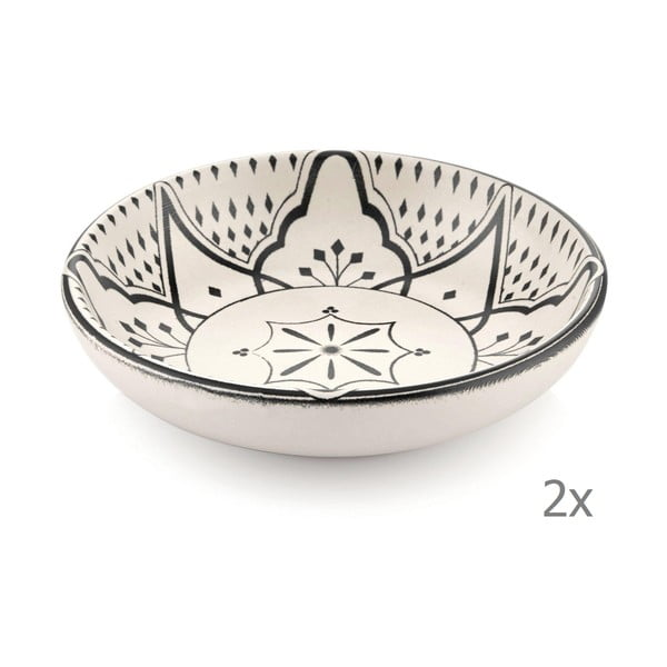 Set 2 boluri din porțelan cu ornamente negre Mia Maroc, ⌀ 13 cm, crem