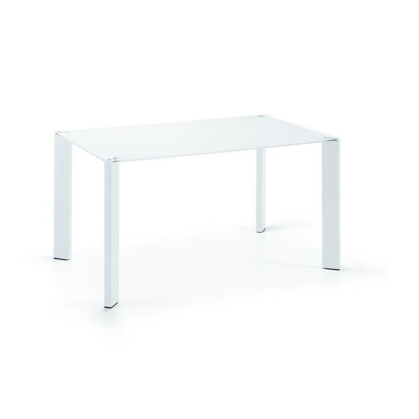 Jídelní stůl Corner, 140x90cm, bílé nohy/sklo