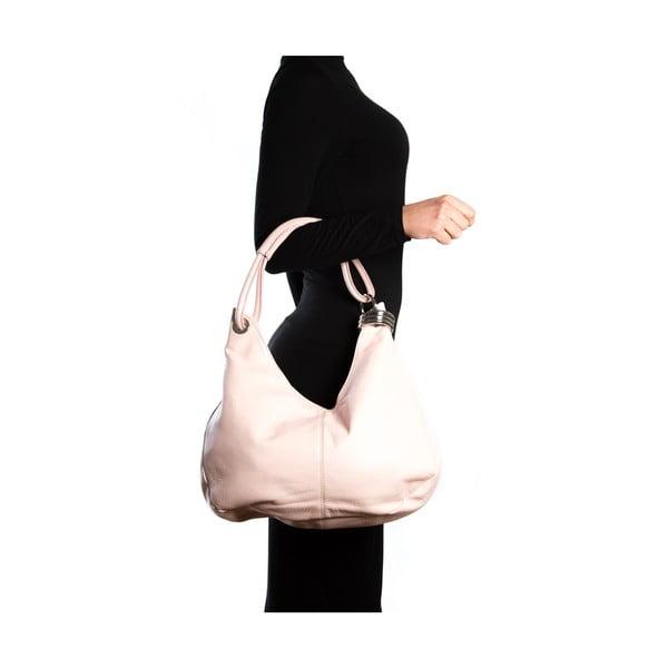 Kožená kabelka Hobo, růžová