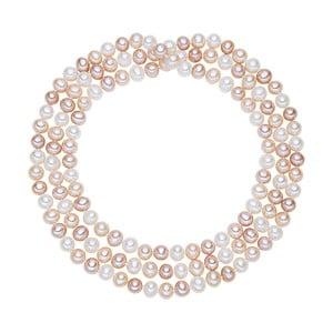 Bílo-růžový perlový náhrdelník Chakra Pearls, 120 cm
