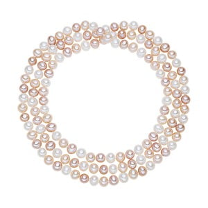 Colier din perle Chakra Pearls, 90 cm, alb-roz