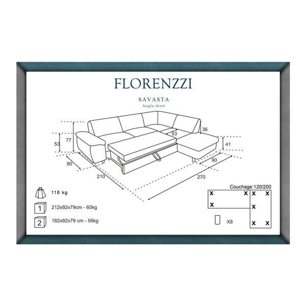 Tmavě šedá rozkládací pohovka Florenzzi Savasta s lenoškou na pravé straně