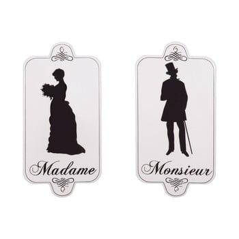 Set 2 plăcuțe pentru ușă WC Antic Line Madame Monsieur