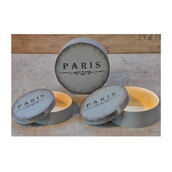 Sada 3 krabiček Paris, šedá