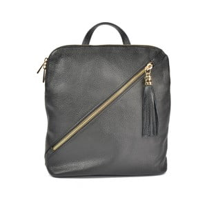 Černý kožený batoh Carla Ferreri Sudo