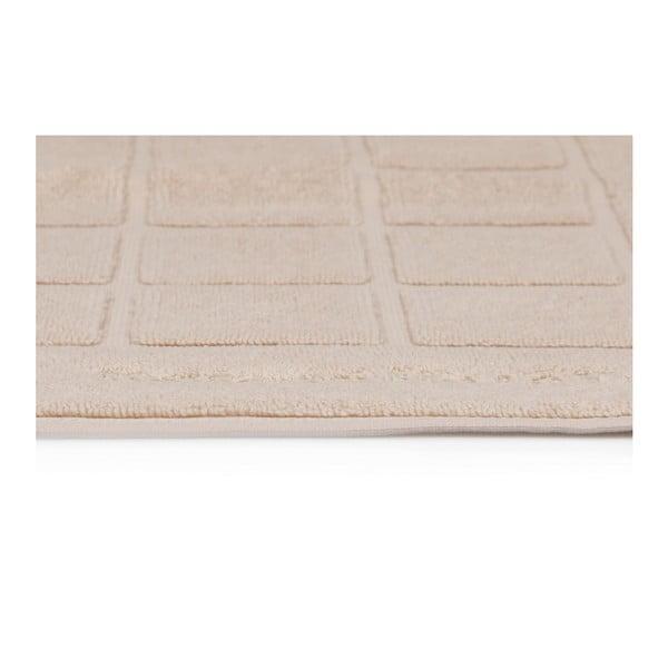 Sada dvou koupelnových předložek v krémové se čtvercovým detailem barvě Beverly Hills Polo Club, 80x50cm