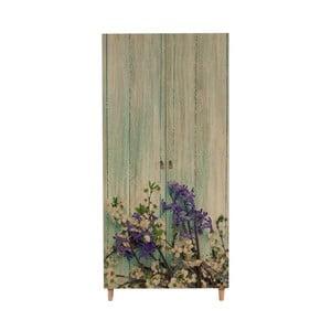Dřevěná šatní skříň Ursula Flower