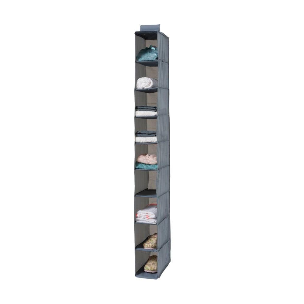 Šedý závěsný organizér s 9 přihrádkami Compactor Pina, délka 128 cm