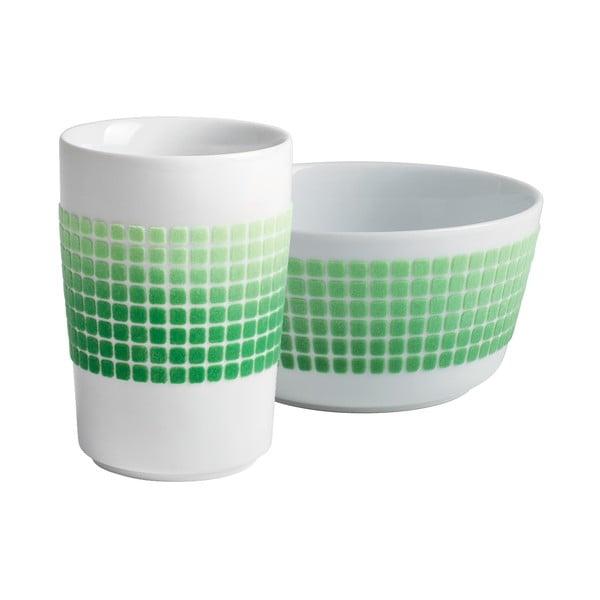 Šálek + miska Touch! Five Senses, zelené čtverečky