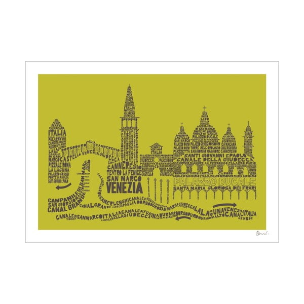 Plakát Venezia Green&Grey, 50x70 cm
