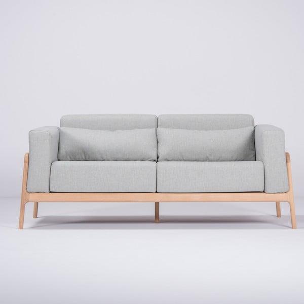 Niebieskoszara sofa z konstrukcją z litego drewna dębowego Gazzda Fawn, 180 cm