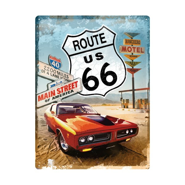 Retro plechová cedule Route 66, 30x40 cm
