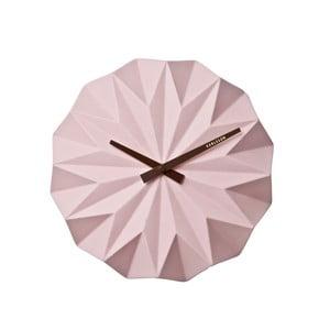 Růžové nástěnné hodiny Present Time Origami