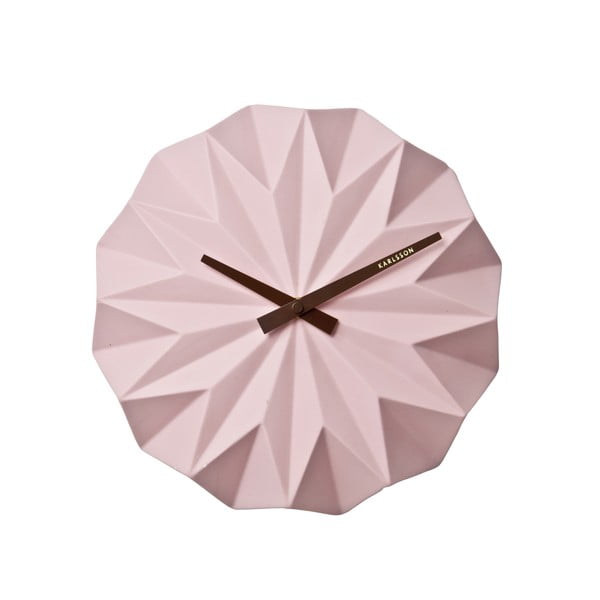 Ceas de perete Karlsson Origami, roz