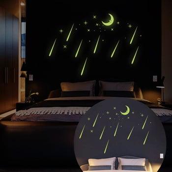 Autocolante fluorescente Ambiance Moon And Falling Stars imagine